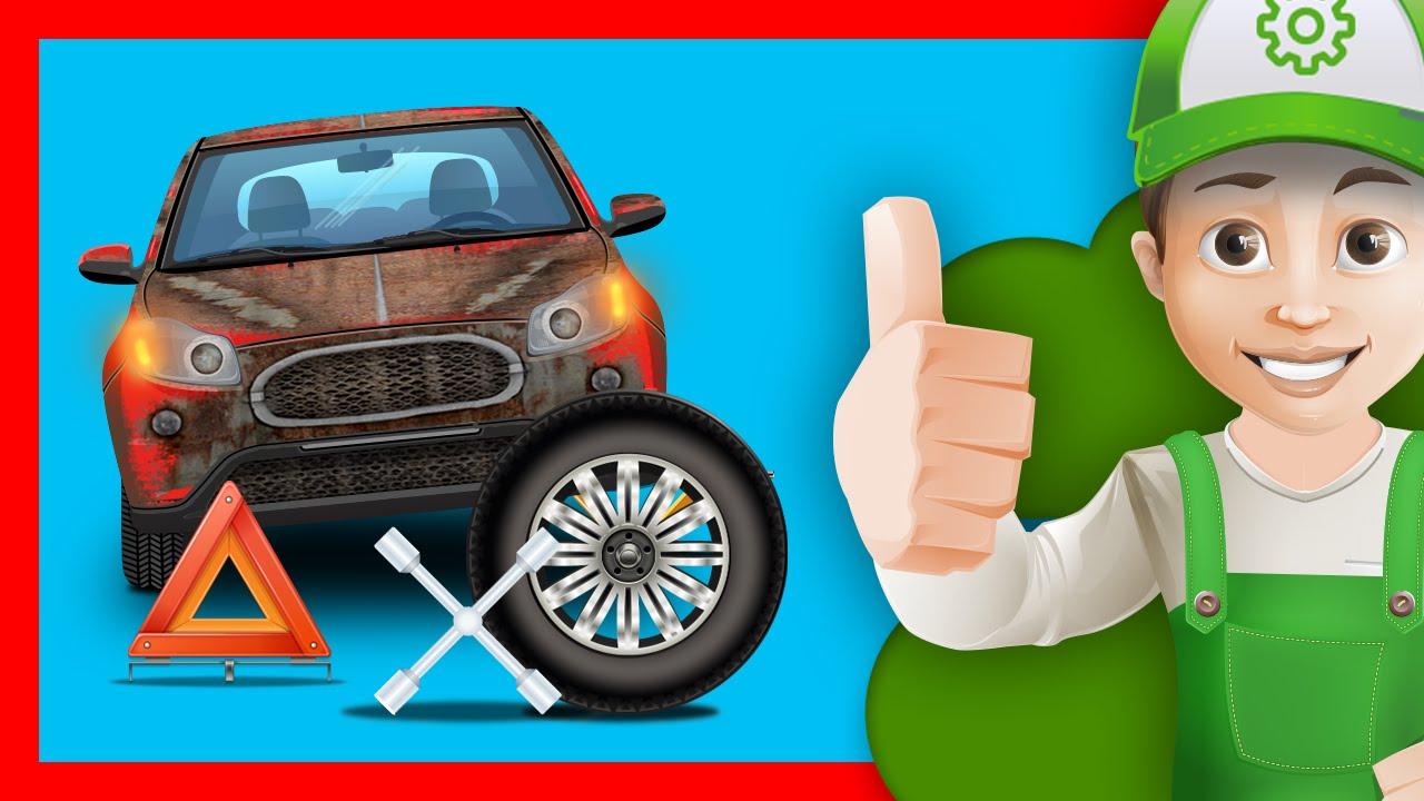 """""""Хочу Знать Все""""- Машинки. Винтик меняет колесо!"""