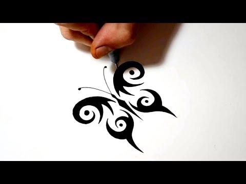 Video drawing a simple symmetrical tribal butterfly for Tattoo above vagina