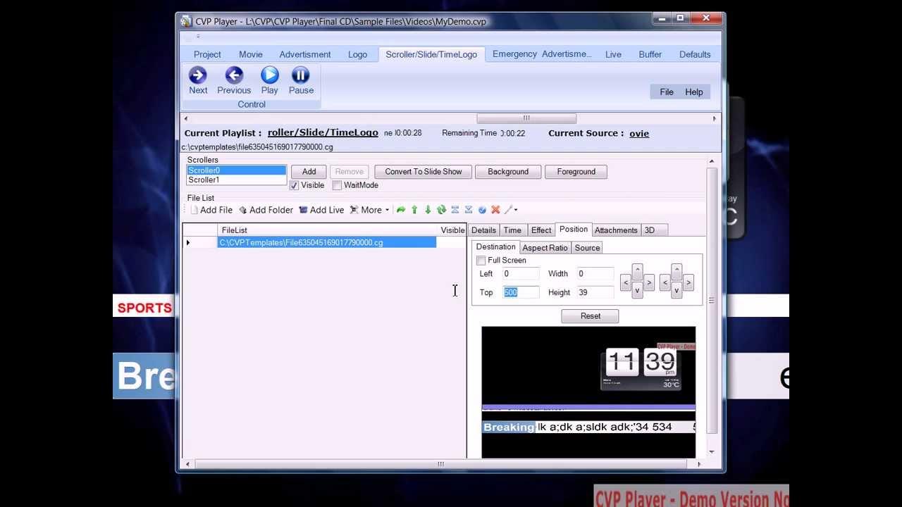 CVP Player - News Ticker Template Demo