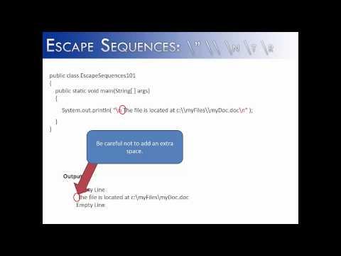 """Escape Sequences: \"""" \\ \n \t \r (Java)"""