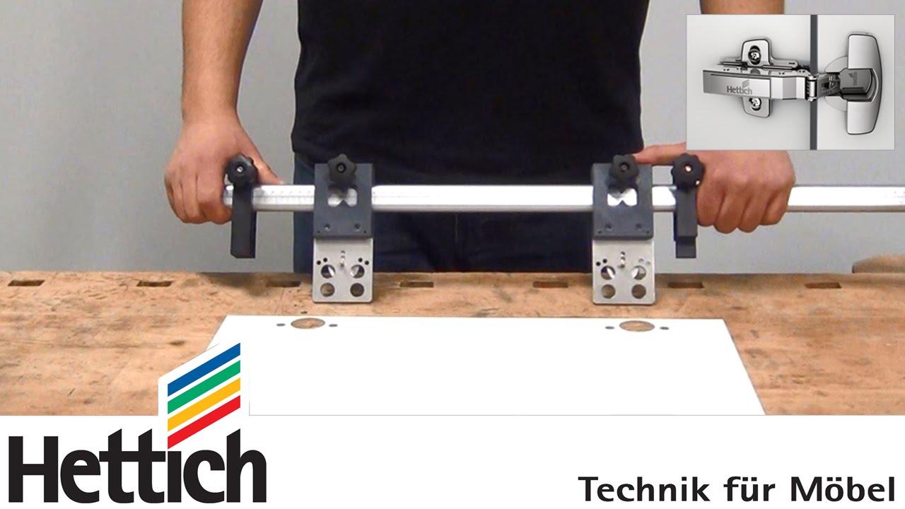 Scharniermontage mit DrillJig Bohrgetriebe und Accura