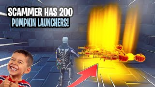 Scammer With 200 Pumpkin Launchers Scams Himself! (Scammer Gets Scammed) Fortnite Save The World
