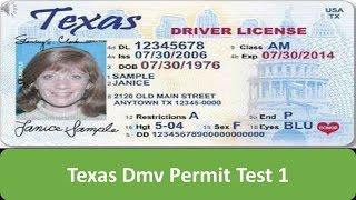 Texas DMV Permit Test 1