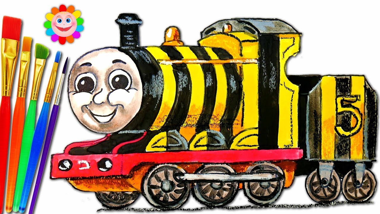 How to DRAW Thomas and Friends Coloring Pages JAMES - Train Video ...