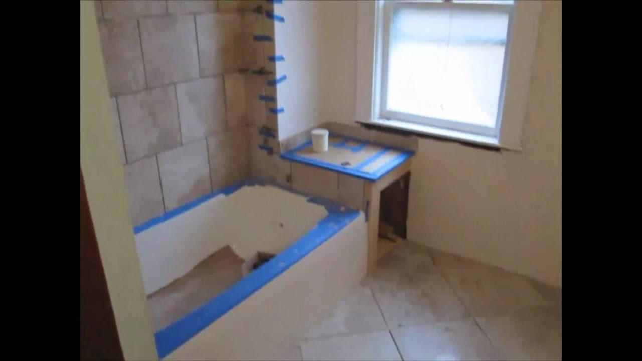 Running Bond Ceramic Tile Tub Area Youtube