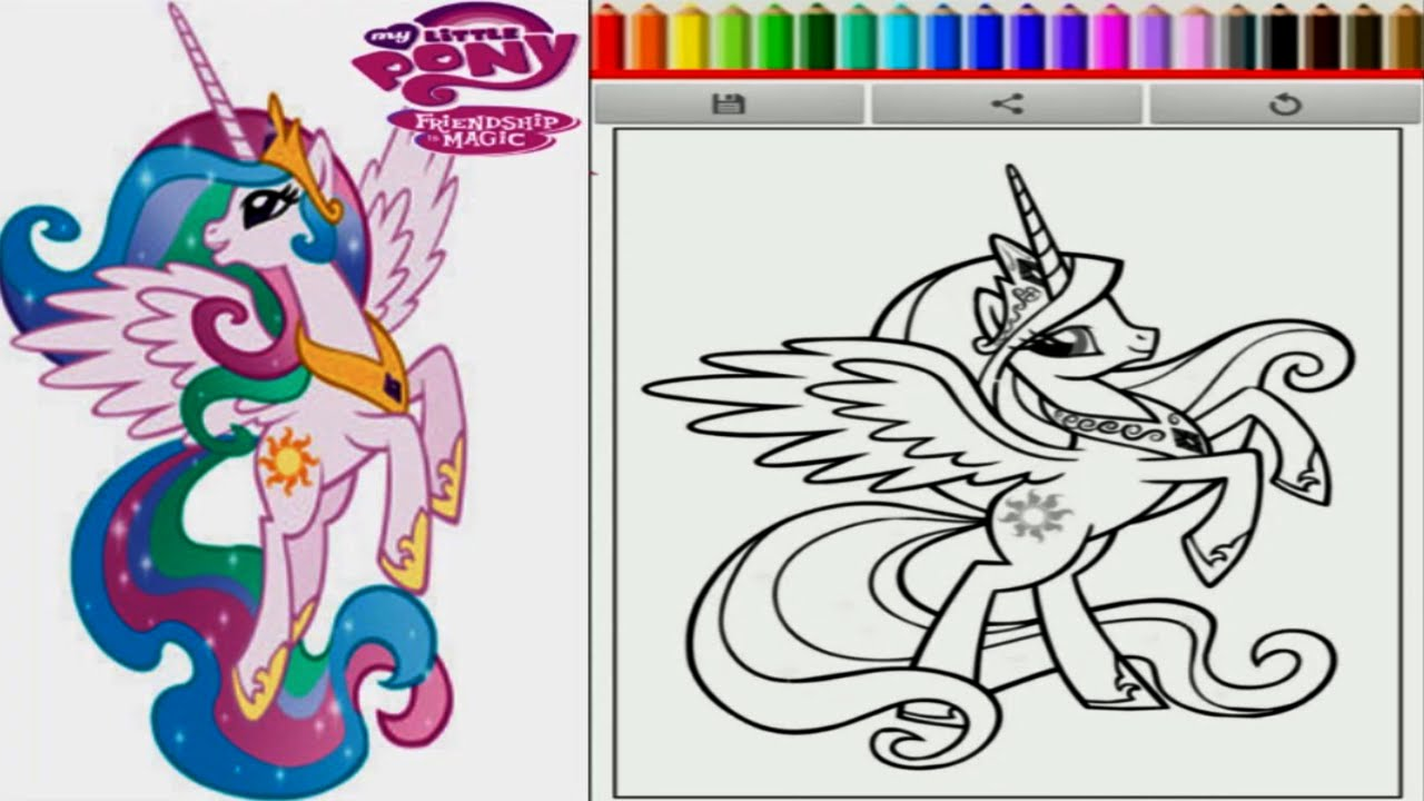 My little pony rainbow rocks coloring pages games - My Little Pony Princess Celestia Coloring Book Friendship Is Magic Game For Children Youtube