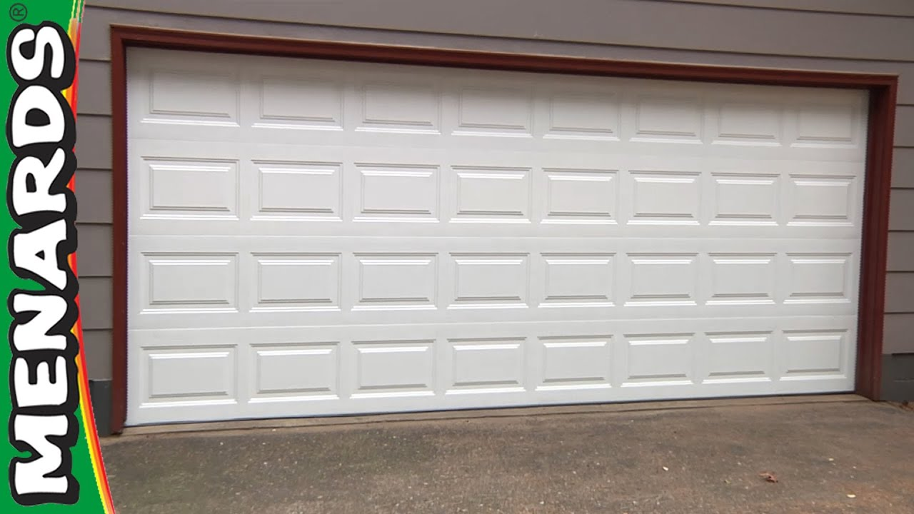 Garage door how to install menards youtube for How big is a standard garage door
