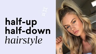 How to Style A Half Updo Using Halo Hair Extensions | Sitting Pretty