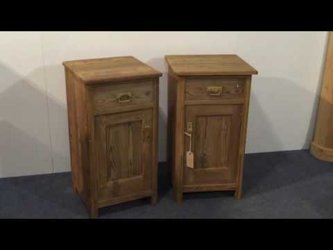 A Pair of Pitch Pine Bedside Cupboards - Pinefinders Old Pine Furniture Warehouse