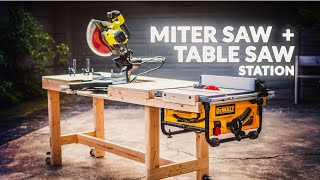 Simple but Highly Functional WORKBENCH with Table Saw and Miter Saw Stations
