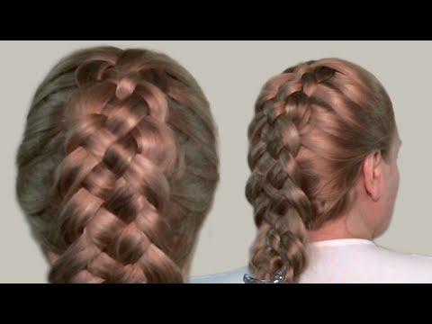 Как Сделать Прическу в Домашних Условиях Видео Урок| Схема Плетения Косы из 5-ти Прядей