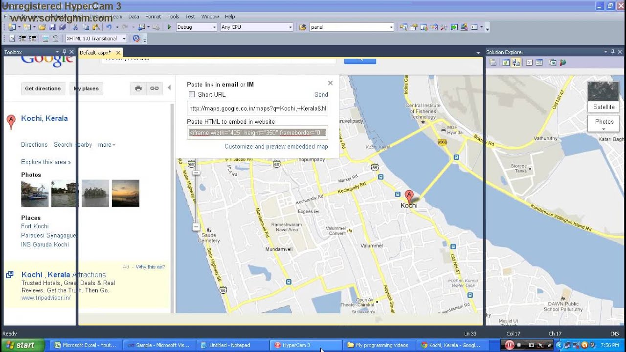 how to add google map in website using asp net