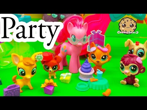 Littlest Pet Shop Park Party Playset + 4 LPS Surprise Blind Bags With Pinkie Pie - Cookieswirlc