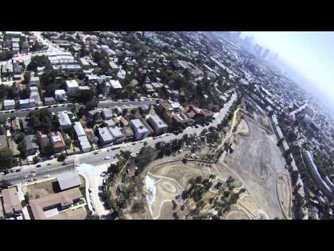 Balloon Flight over Echo Park Los Angeles.