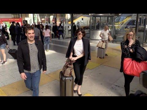 EXCLUSIVE : Gemma Arterton arriving at gare du Nord train station in Paris