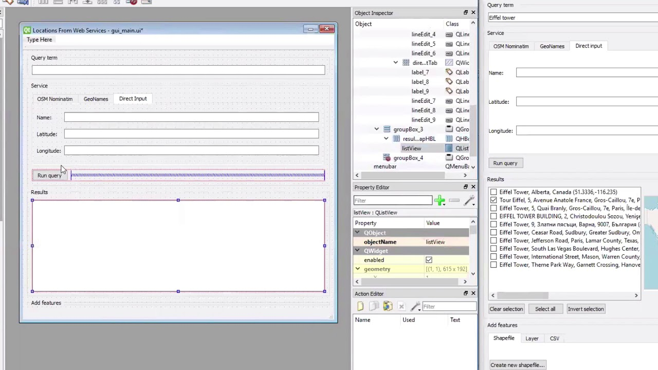 Process of creating the GUI in QT Designer | GEOG 489: Advanced