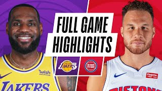 LAKERS at PISTONS | FULL GAME HIGHLIGHTS | January 28, 2021