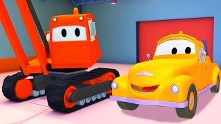 Odtahový vůz Tom a demoliční jeřá  Animák z prostředí staveniště s auty a nákladními vozy (pro děti)