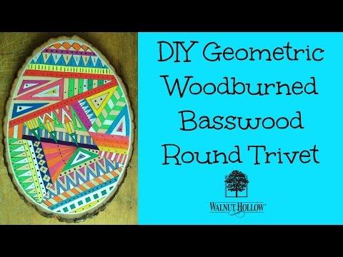 ART DIY: Geometric Wood Burned Basswood Round Trivet
