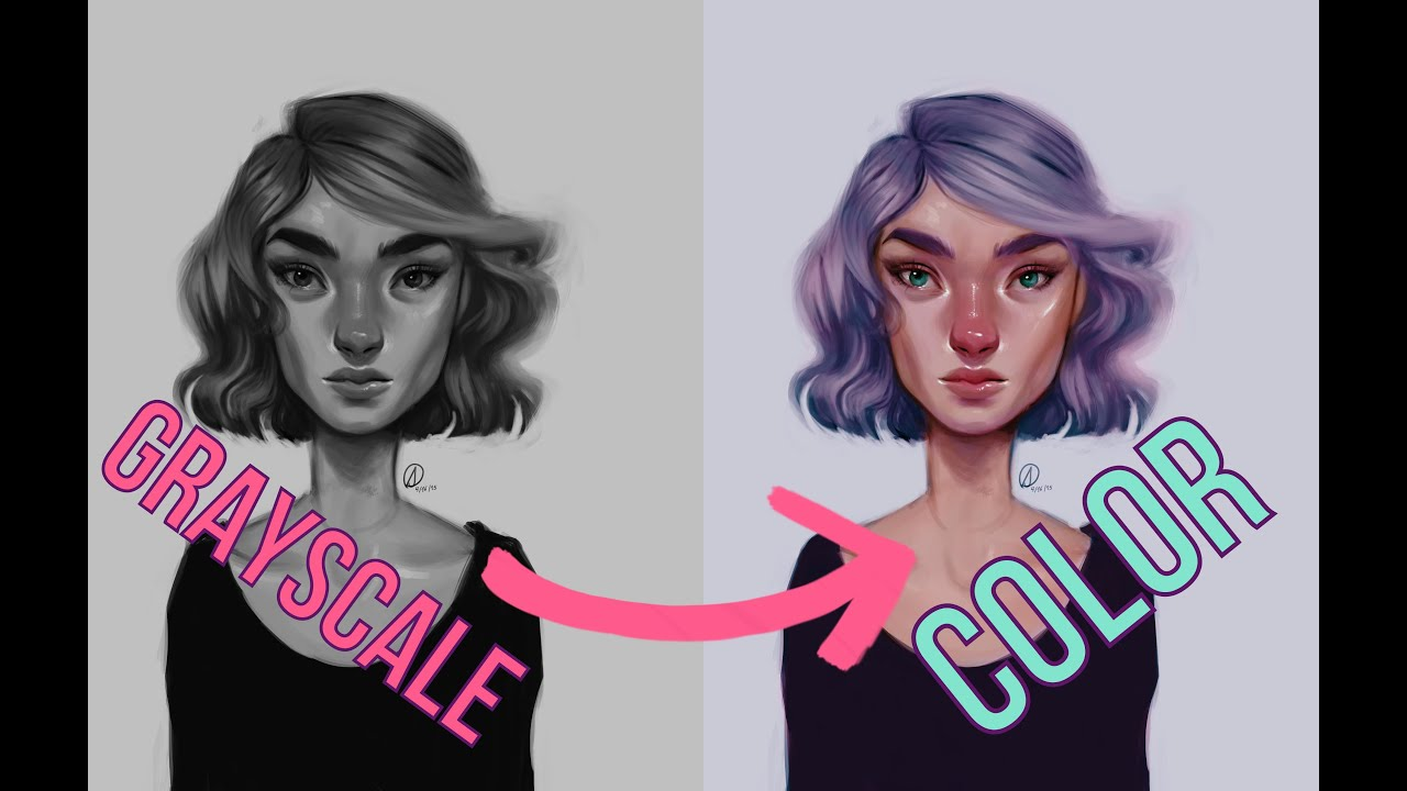 DIGITAL ART| Grayscale to Color Tutorial - YouTube