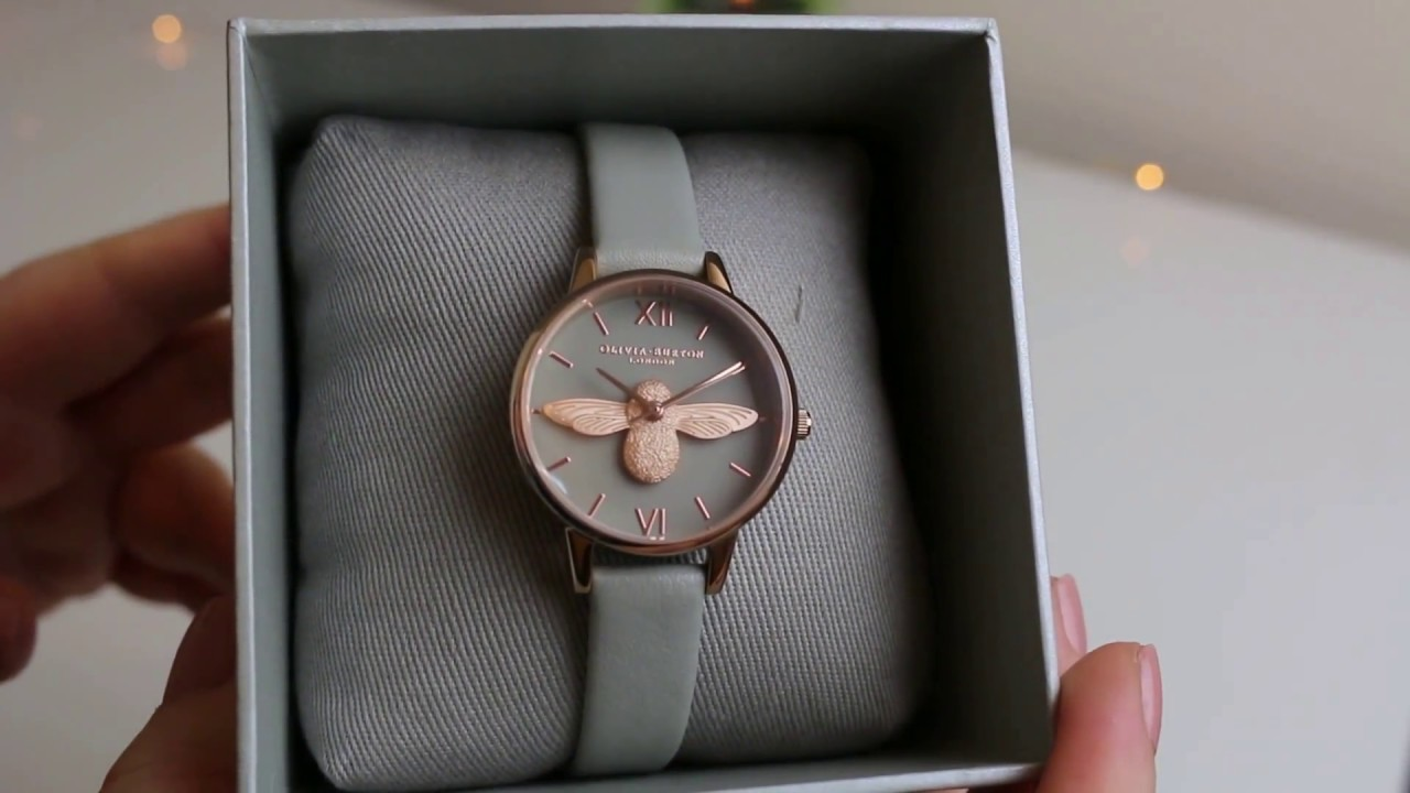 43e9b9bf61fb Olivia Burton Grey & Rose Gold Bee Watch Unboxing - YouTube
