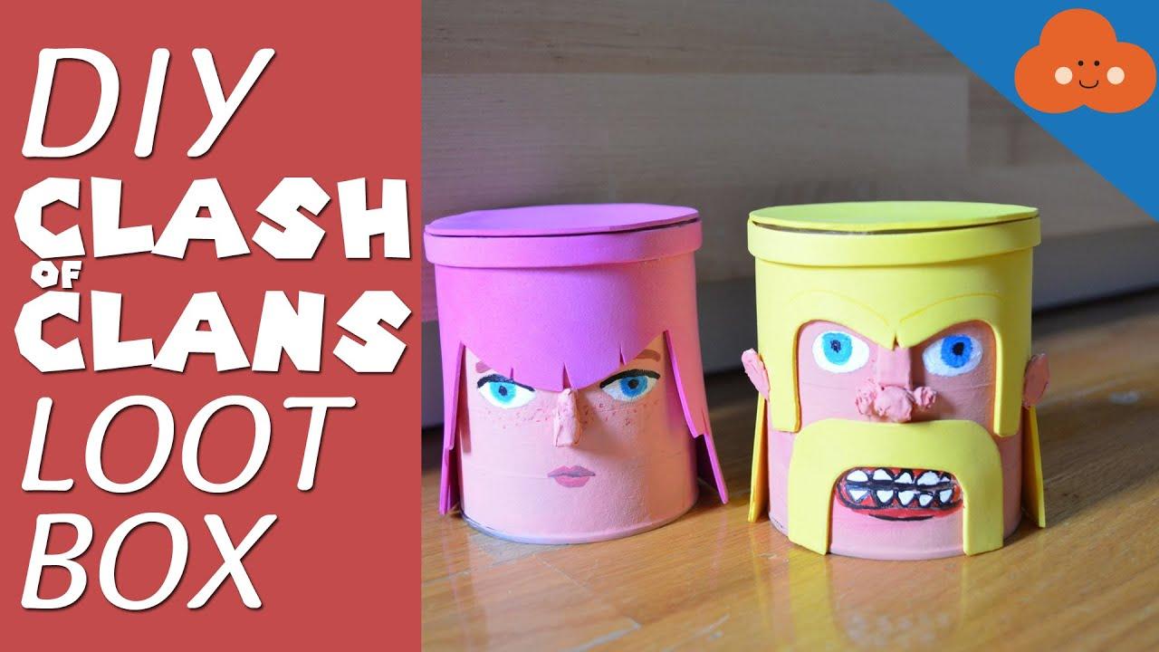 Diy clash of clans loot box money bank youtube for Homemade money box ideas