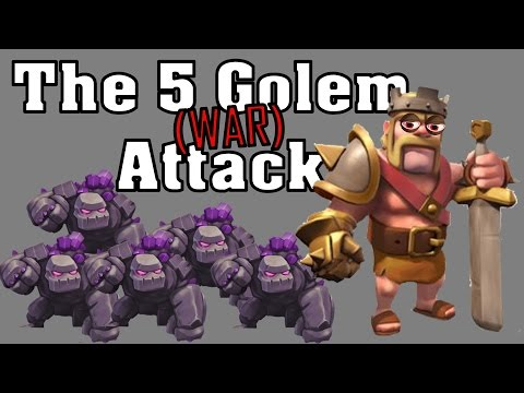 Clash of Clans - 5 Golem Attack Strategy (Plus CRAZY King)