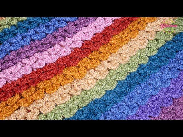 Gorgeous Textured Crocodile Stitch - Amazing Crochet Stitch for Blankets/ Scarves 😍