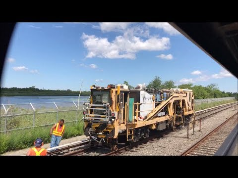 NYC Subway HD 60fps: Ballast Tamping Track Work Train on Broad Channel Test Track (6/24/17)