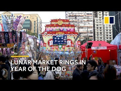 Hong Kong's Lunar New Year market celebrates the Year of the Dog