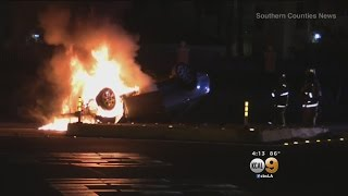 Police: 100-pound Puppy Blamed For Fiery Crash In Santa Ana