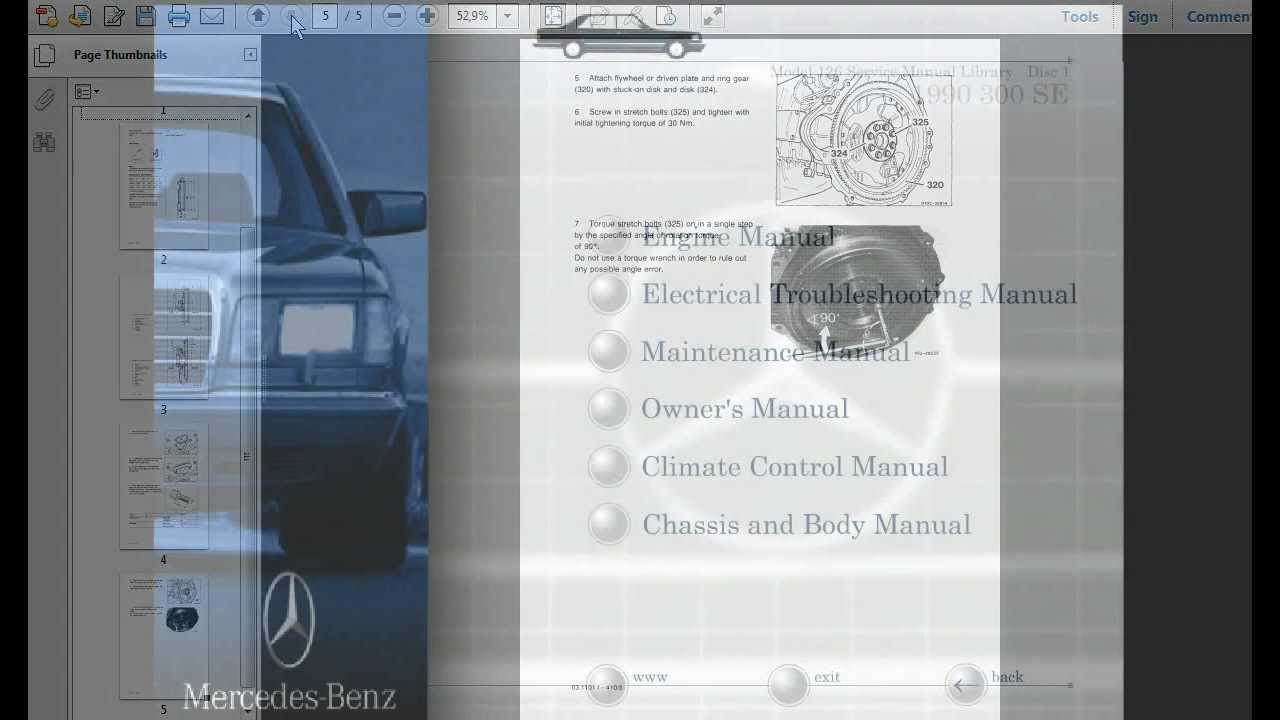 Mercedes Benz Model 126 Service Manual Library - YouTube