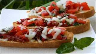 Easy recipe making video about Double Tomato Bruschetta