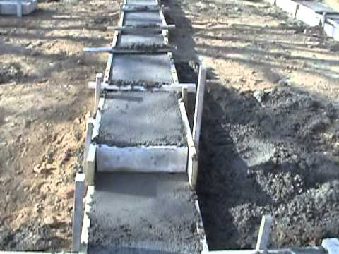 Stepped Reinforced Concrete Mat Spread Foundation Detail by