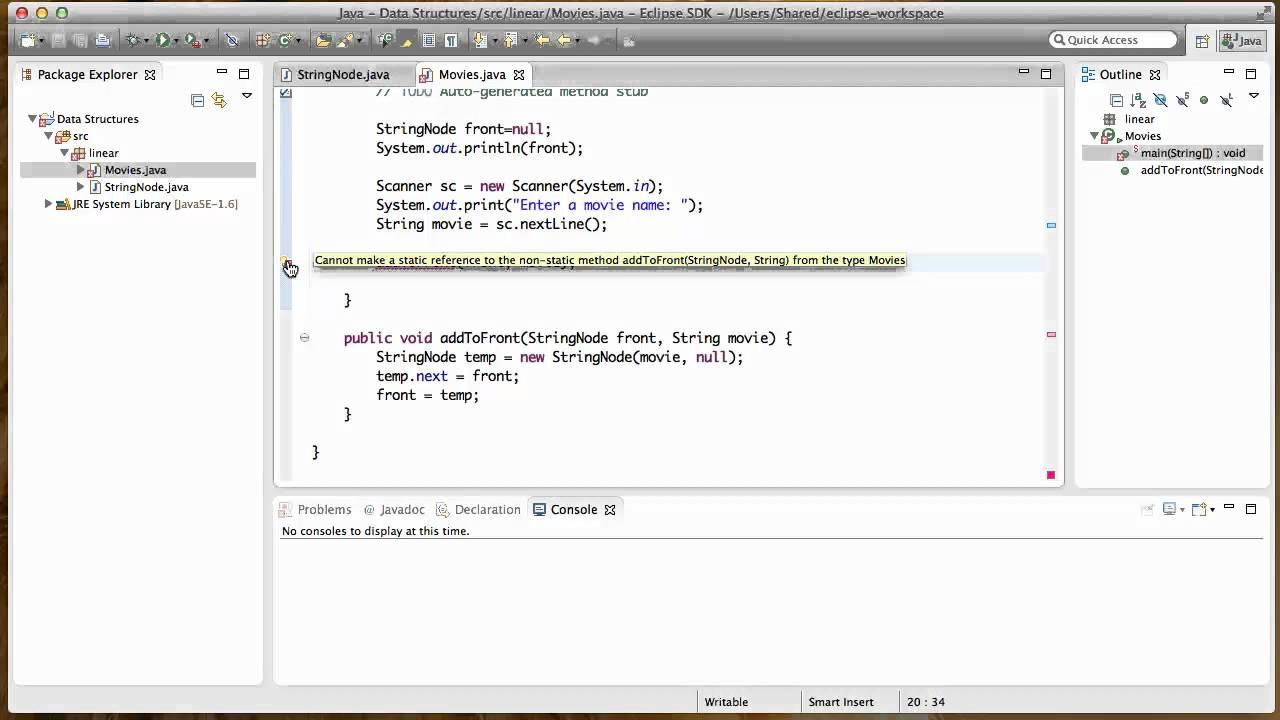 Java no object linked list part 1 youtube java no object linked list part 1 baditri Images