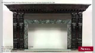 Art Moderne/1940s Antique Mantel American Fireplace Accessor
