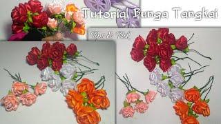 Cara membuat bunga mawar tangkai dari pita mudah how to make roses from ribbons