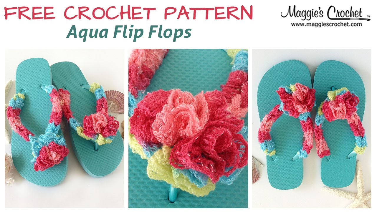 451f48e40 Aqua Flip Flops Free Crochet Pattern - Right Handed - YouTube