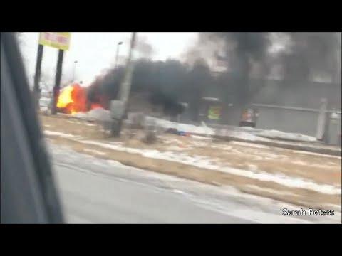 Vehicle burns in McDonald's lot
