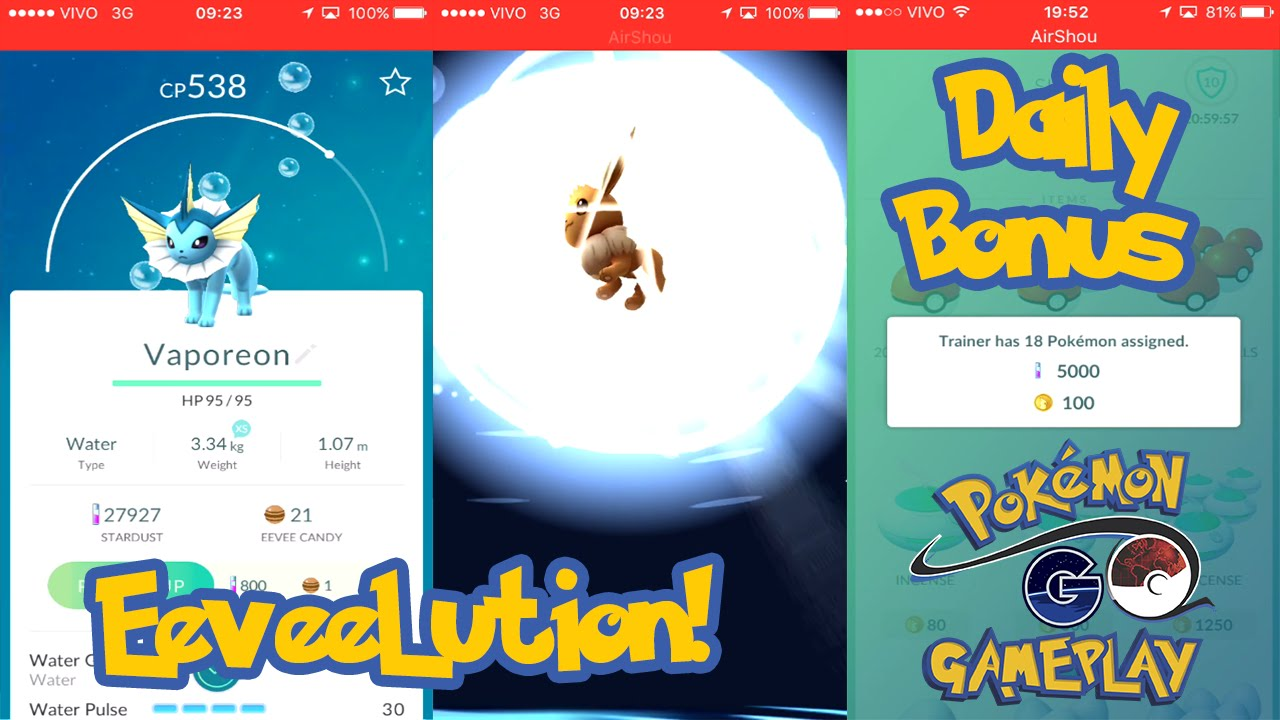 Pokemon go eevee evolution daily bonus and amazing tips cp youtube also rh