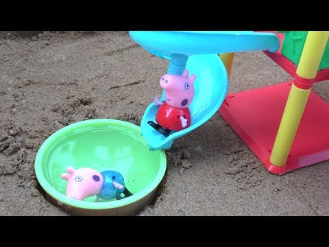 Peppa Pig Playground Slide Water Building Toys Videos with Learn Colors for Children