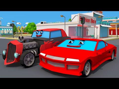 Dessin animé. voitures colorées : une nouvelle COURSE. Vidéo 3D pour enfants