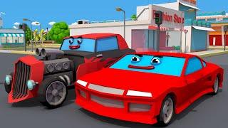 Çizgi film. Polis, yeni bir YARIŞ arabası. Küçük Arabalar ve Kamyonlar