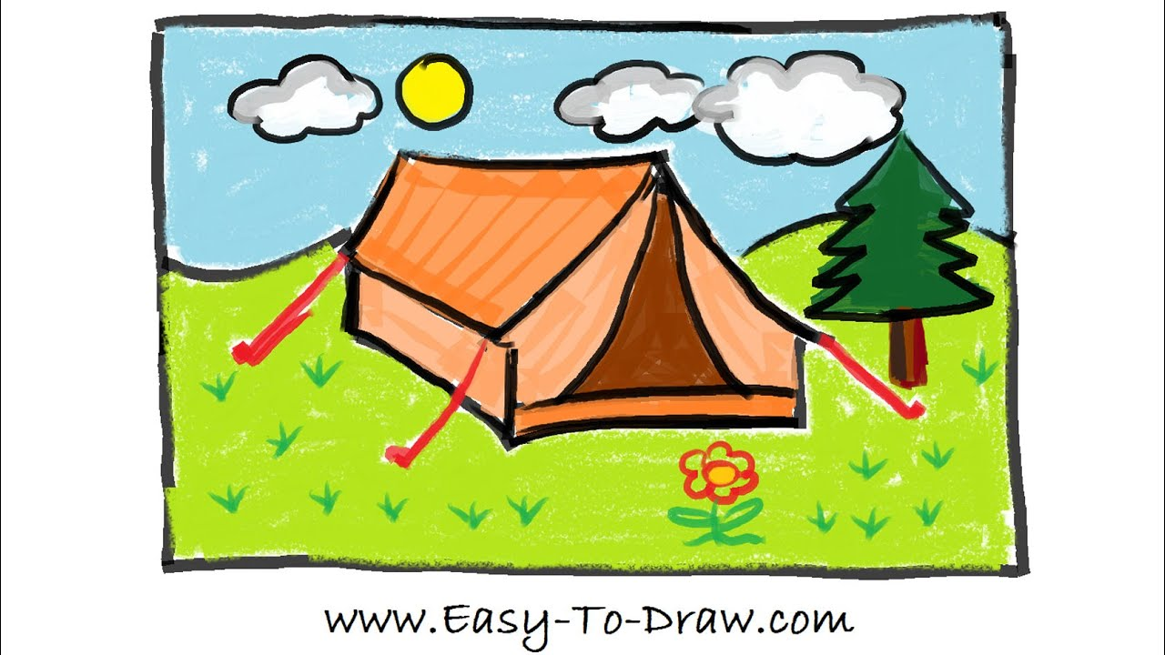 how to draw a cartoon tent in campground camping place free easy tutorial for kids youtube