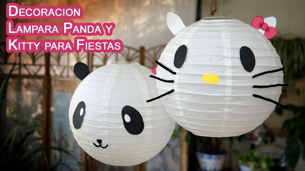 Decoracion Colgantes Y Lampara Panda O Kitty Para Fiestas Youtube