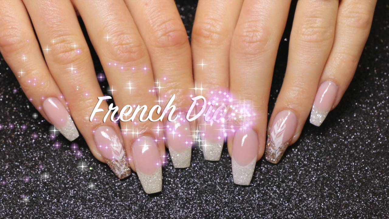 acrylic nail design french diamond youtube acrylic nail design french diamond prinsesfo Choice Image