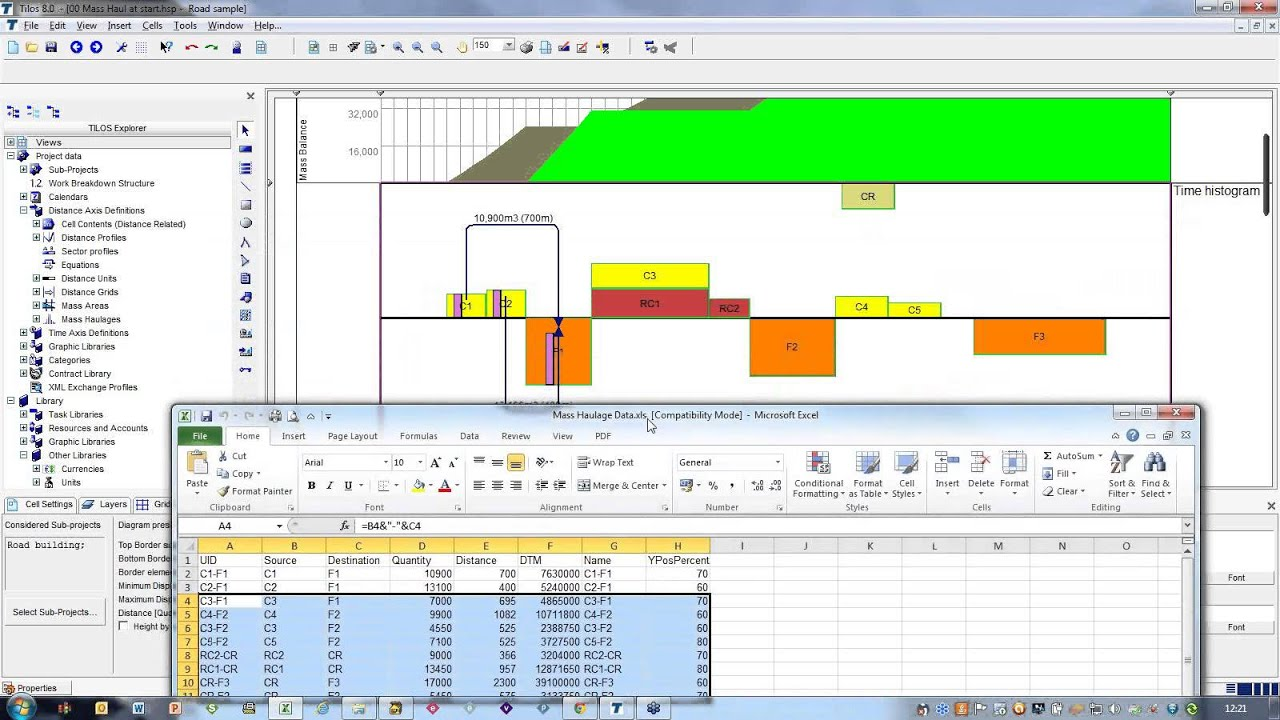 earthwork mass diagram excel sheet rj45 t568b wiring haul new in tilos version 8 youtube