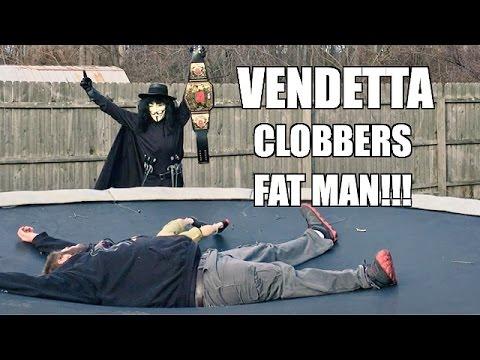 FAT MAN REACTS TO CHALLENGE FROM VENDETTA TRAMPOLINE BACKYARD WRESTLING MATCH
