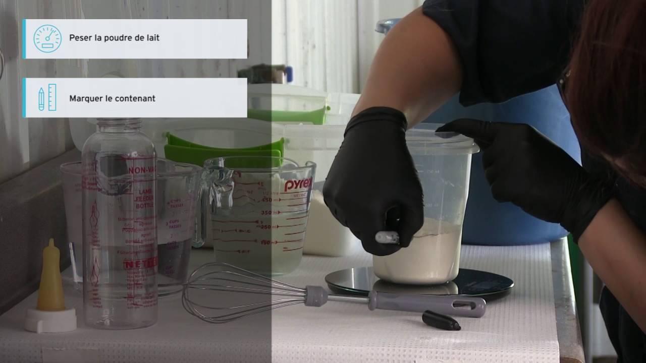 Préparation du lait pour l'allaitement artificiel