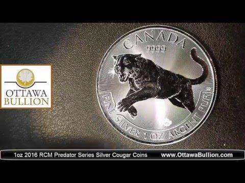 1oz 2016 RCM Predator Series Silver Cougar Coins - COIN DEALER OTTAWA